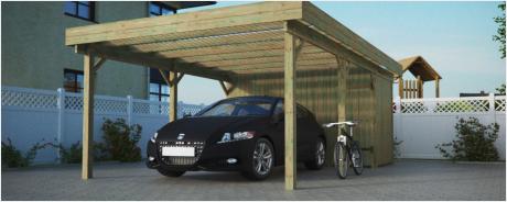 Flachdachcarport Einzelcarport mit Geräteraum Bausätze aus Holz