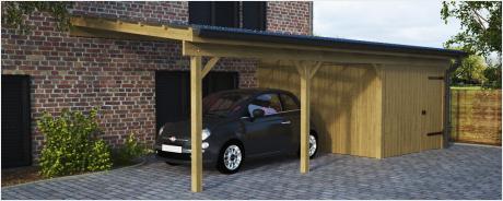 Pultdachcarport Einzelcarport mit Geräteraum Bausätze aus Holz