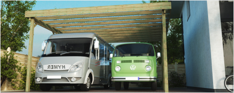 Wohnmobilcarport Doppelcarport Bausätze aus Holz
